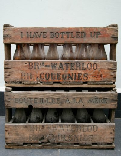 Bouteilles a la mere & I have bottled up, 2013 - Wood, metal, glass, charcoal - 20.9 W x 11.8 in